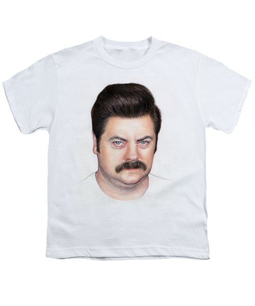 Ron Swanson Portrait Nick Offerman Youth T-Shirt by Olga Shvartsur