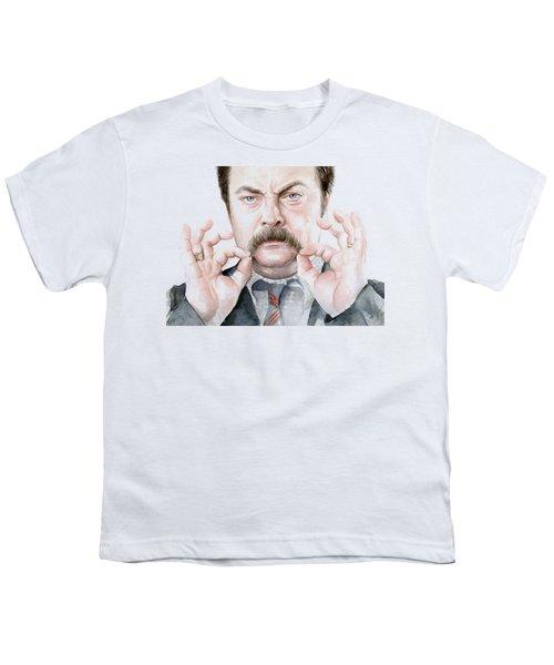 Ron Swanson Mustache Portrait Youth T-Shirt by Olga Shvartsur