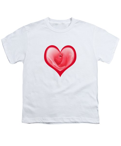 Rose Heart T-shirt And Print By Kaye Menner Youth T-Shirt by Kaye Menner