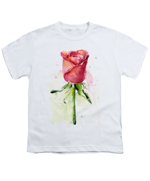 Rose Watercolor Youth T-Shirt by Olga Shvartsur