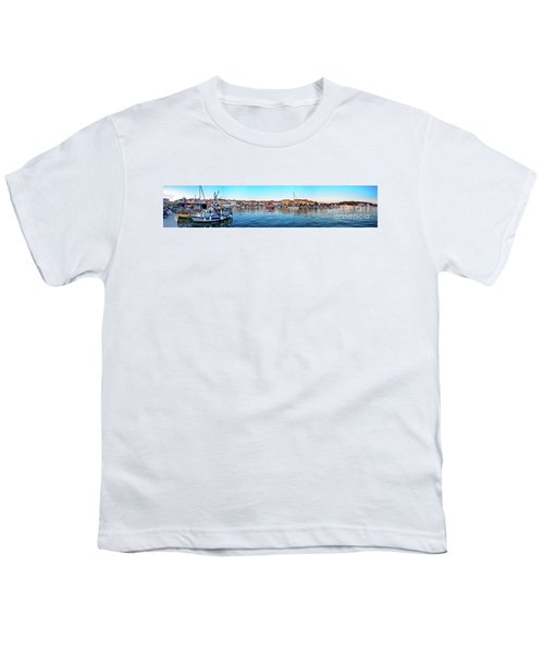 Rovinj Harbor And Boats Panorama Youth T-Shirt