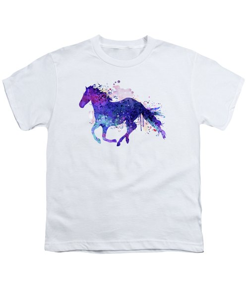 Running Horse Watercolor Silhouette Youth T-Shirt