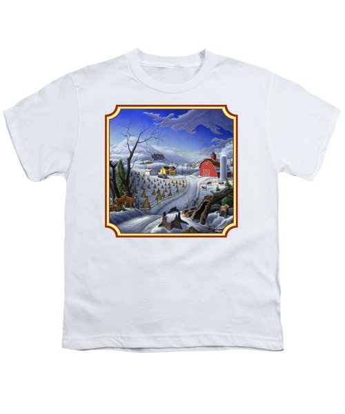Rural Winter Country Farm Life Landscape - Square Format Youth T-Shirt