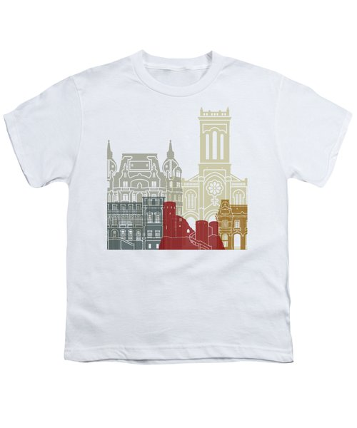 Saint Etienne Skyline Poster Youth T-Shirt by Pablo Romero
