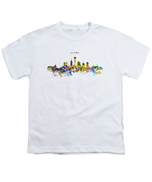 San Antonio Skyline Silhouette Youth T-Shirt by Marian Voicu