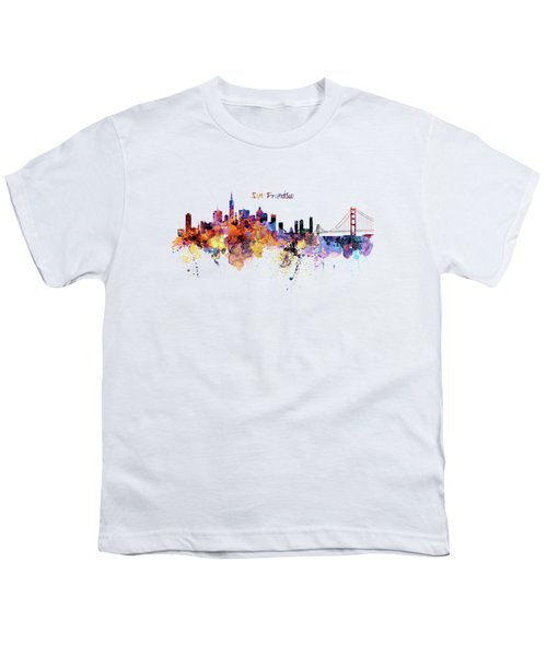 San Francisco Watercolor Skyline Youth T-Shirt by Marian Voicu