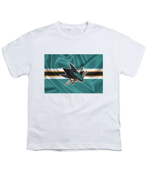 San Jose Sharks - 3 D Badge Over Silk Flagsan Jose Sharks - 3 D Badge Over Silk Flag Youth T-Shirt