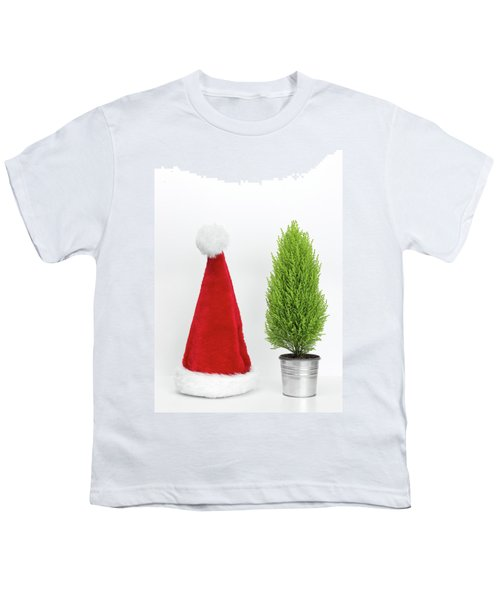 Santa Hat And Little Christmas Tree Youth T-Shirt by GoodMood Art