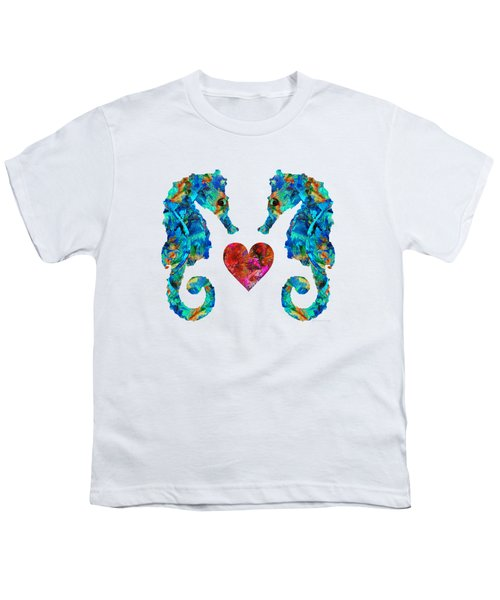 Sea Lovers - Seahorse Beach Art By Sharon Cummings Youth T-Shirt by Sharon Cummings