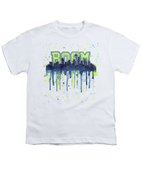 Seattle 12th Man Legion Of Boom Watercolor Youth T-Shirt by Olga Shvartsur