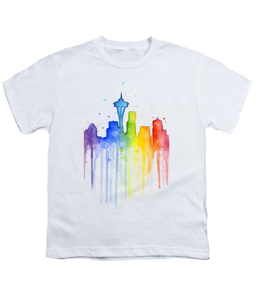 Seattle Rainbow Watercolor Youth T-Shirt by Olga Shvartsur
