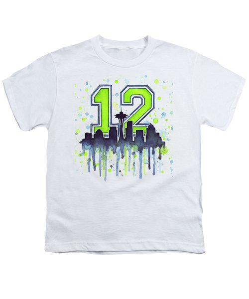 Seattle Seahawks 12th Man Art Youth T-Shirt by Olga Shvartsur