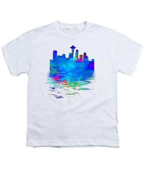 Seattle Skyline, Blue Tones On White Youth T-Shirt