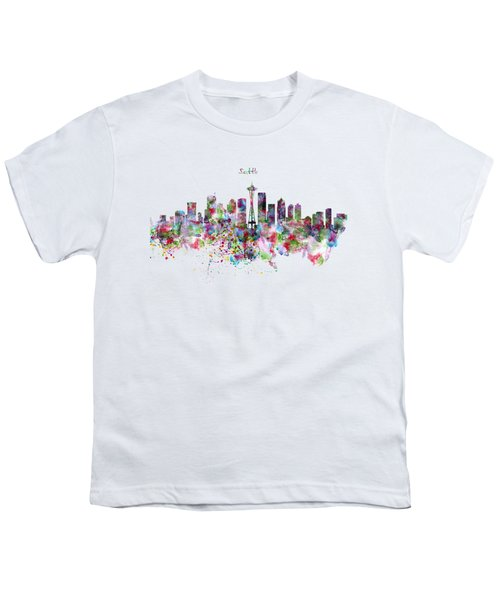Seattle Skyline Silhouette Youth T-Shirt by Marian Voicu