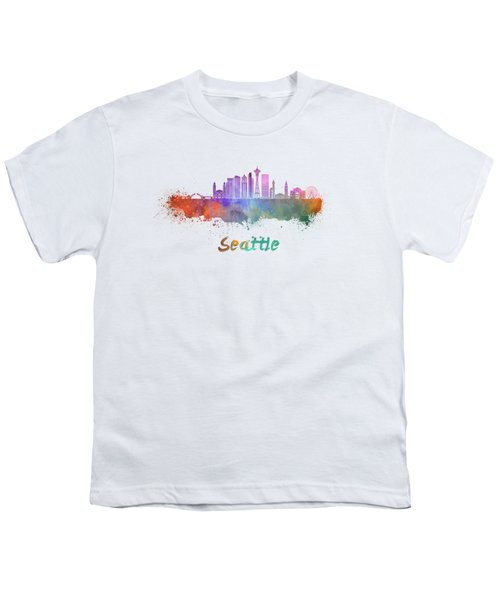 Seattle V2 Skyline In Watercolor Youth T-Shirt by Pablo Romero