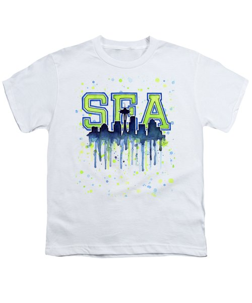 Seattle Watercolor 12th Man Art Painting Space Needle Go Seahawks Youth T-Shirt