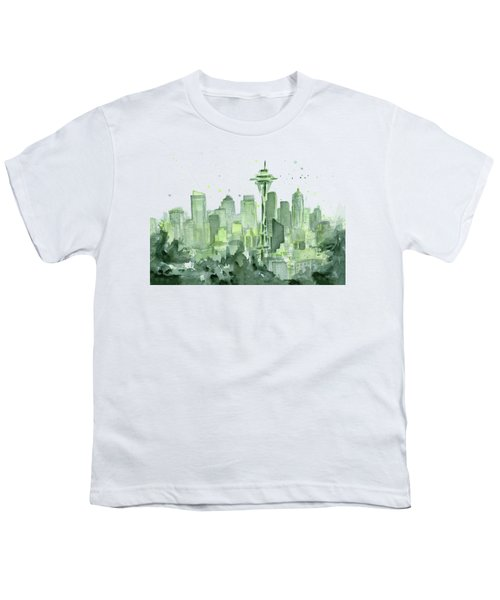 Seattle Watercolor Youth T-Shirt by Olga Shvartsur