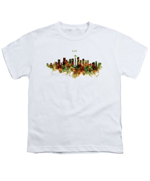 Seattle Watercolor Skyline Poster Youth T-Shirt by Marian Voicu