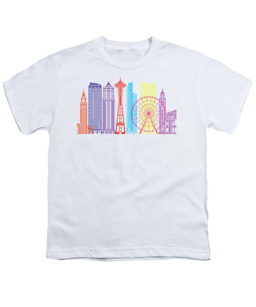 Seattle_v2 Skyline Pop Youth T-Shirt by Pablo Romero
