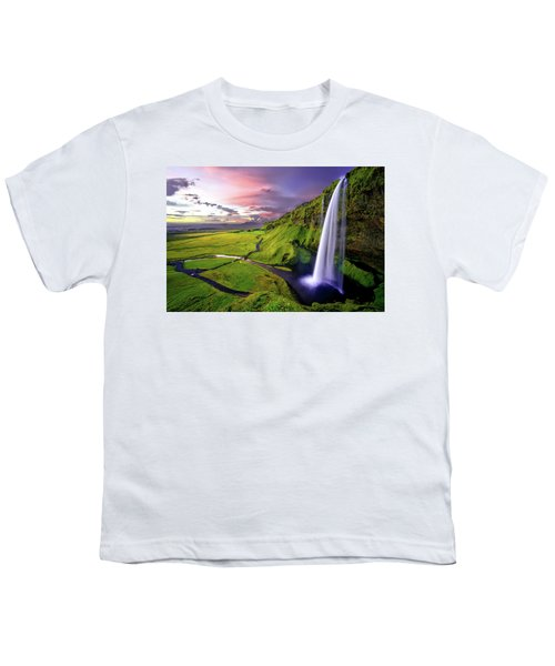 Seljalandsfoss Waterfall Youth T-Shirt