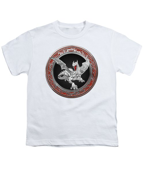 Silver Guardian Dragon Over White Leather Youth T-Shirt by Serge Averbukh