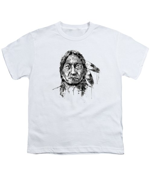 Sitting Bull Black And White Youth T-Shirt by Marian Voicu
