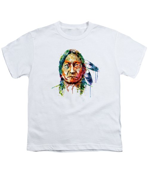 Sitting Bull Watercolor Painting Youth T-Shirt by Marian Voicu