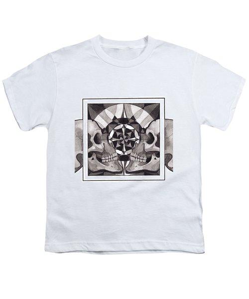 Skull Mandala Series Nr 1 Youth T-Shirt by Deadcharming Art