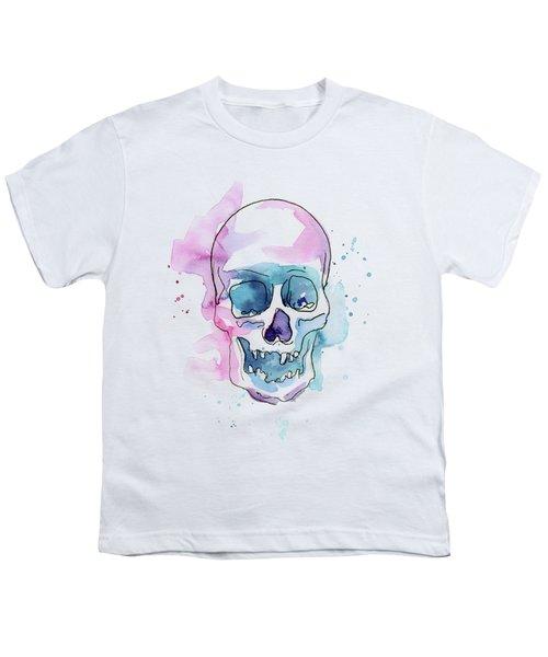 Skull Watercolor Abstract Youth T-Shirt