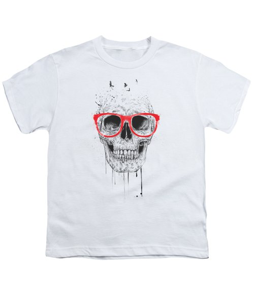 Skull With Red Glasses Youth T-Shirt by Balazs Solti