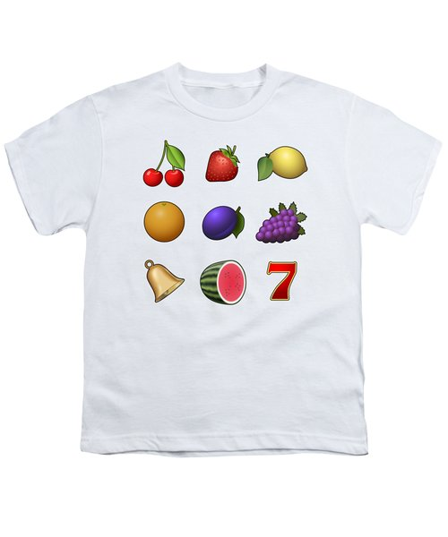 Slot Machine Fruit Symbols Youth T-Shirt by Miroslav Nemecek