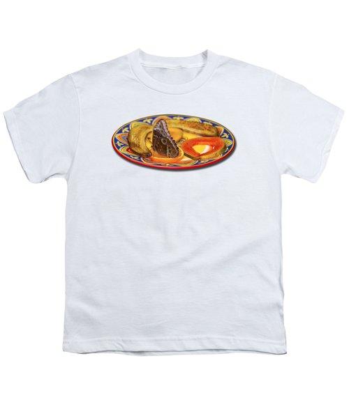 Snacking Butterfly Youth T-Shirt by Bob Slitzan