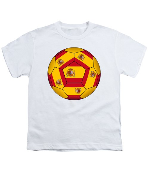 Soccer Ball With Spanish Flag Youth T-Shirt