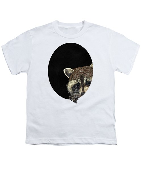 Socially Anxious Raccoon Youth T-Shirt by ZH Field