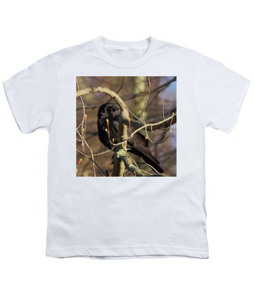 Youth T-Shirt featuring the photograph Springtime Crow Square by Bill Wakeley