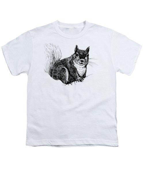 Squirrel Drawing Youth T-Shirt by Katerina Kirilova