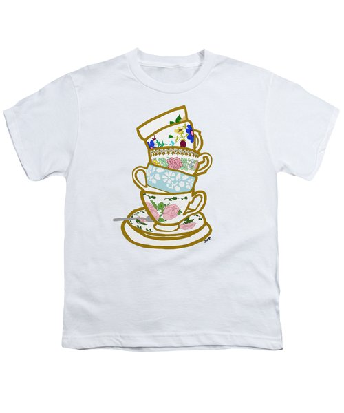 Stacked Teacups Youth T-Shirt by Priscilla Wolfe