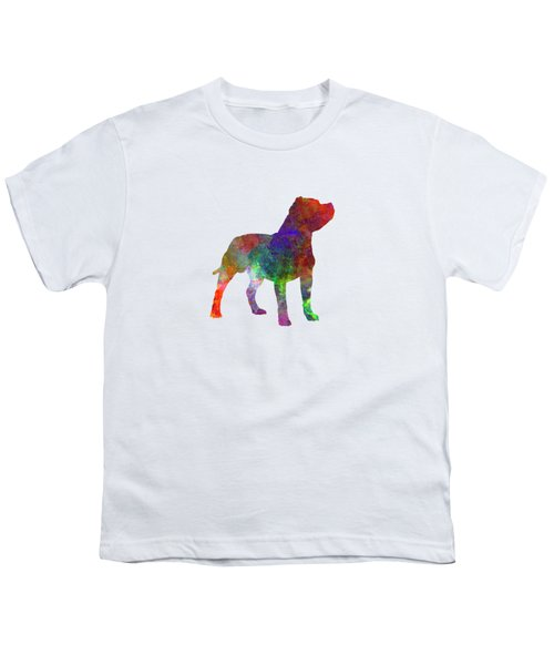 Staffordshire Bull Terrier In Watercolor Youth T-Shirt by Pablo Romero