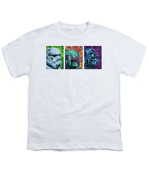 Youth T-Shirt featuring the painting Star Wars Helmet Series - Triptych by Aaron Spong