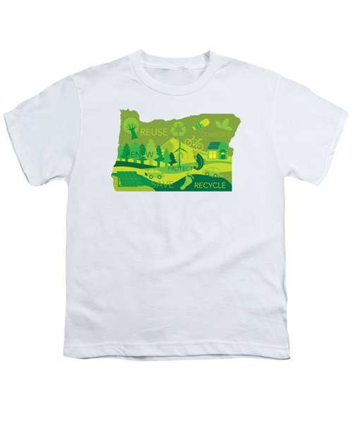 State Of Oregon Map Environment Eco Outline Youth T-Shirt