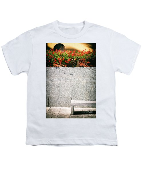 Youth T-Shirt featuring the photograph Stone Bench With Flowers by Silvia Ganora