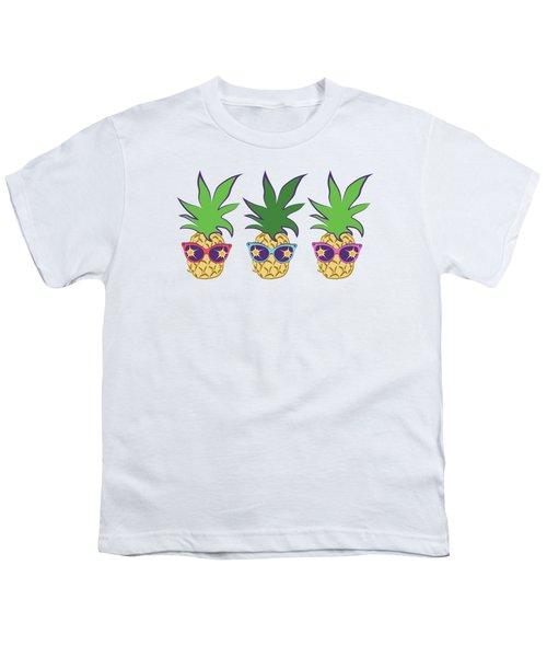 Summer Pineapples Wearing Retro Sunglasses Youth T-Shirt