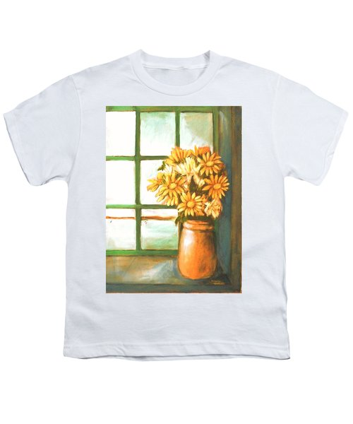 Youth T-Shirt featuring the painting Sunflowers In Window by Winsome Gunning