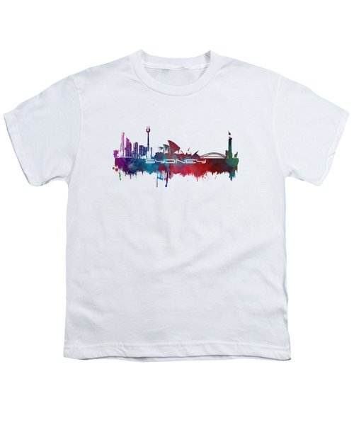 Sydney Skyline City Blue Youth T-Shirt by Justyna JBJart