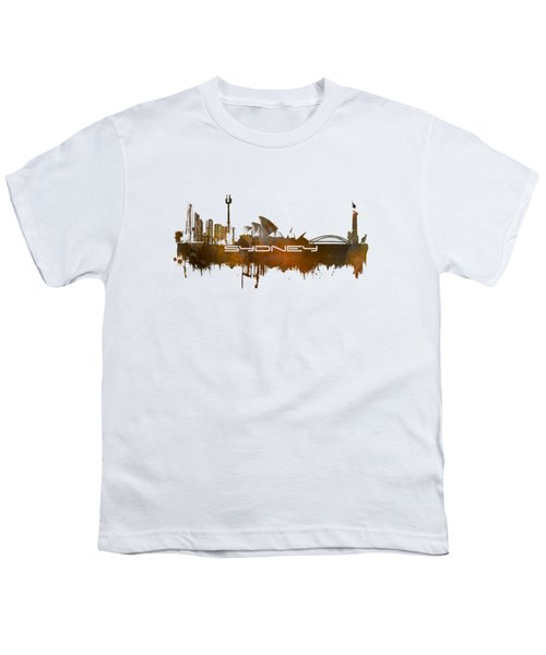 Sydney Skyline City Brown Youth T-Shirt by Justyna JBJart