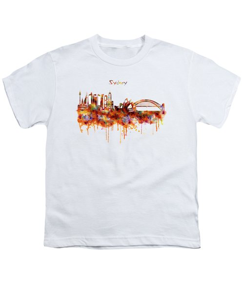 Sydney Watercolor Skyline Youth T-Shirt by Marian Voicu