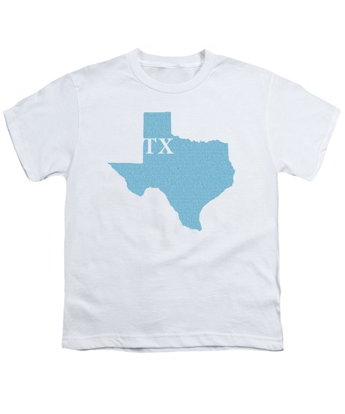 Texas State Map With Text Of Constitution Youth T-Shirt