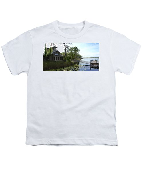 The Boathouse At Watercolor Youth T-Shirt by Megan Cohen