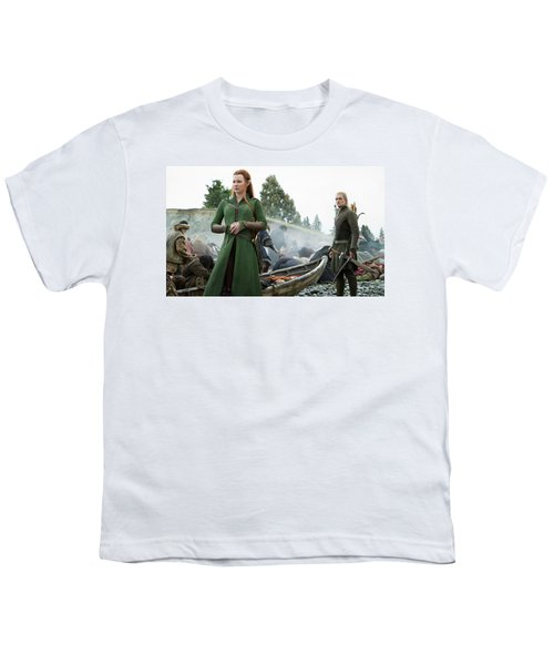 The Hobbit The Battle Of The Five Armies Evangeline Lilly Orlando Bloom Youth T-Shirt