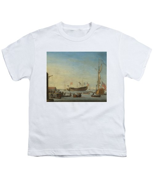The Launch Of A Man Of War Youth T-Shirt by Robert Woodcock